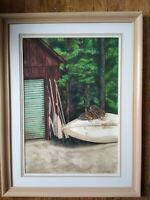 Watercolor Drawing of Boat and Oars in Adirondack Mountains