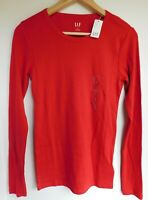 NWT GAP Women's Favorite LS Crew T-Shirt Red XS S NEW Free Shipping