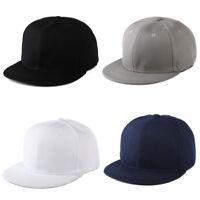 4 Color Unisex Plain Fitted Cap Baseball Hats Solid-Flat Bill Visor Blank Color