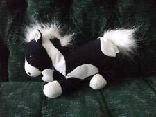 "8"" x 9"" 2004 black & white pinto/paint plush horse Commonwealth"