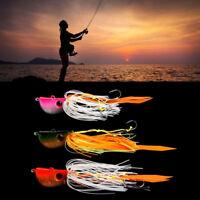 Ee _ DR7 Brilla en Oscuro Luminoso Metal Cabeza Jig Señuelo Pesca Cebo Calamar