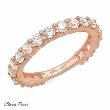 2.20 CT Round Cut 19-Stone Engagement Wedding Ring Band SOLID 14K Rose Gold
