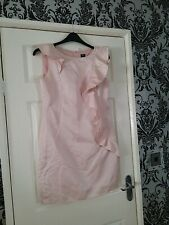 Ladys oasis  Pink Pencil Dress With Frill Details Size 12