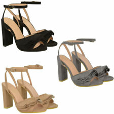 Block Patternless Peep Toes Synthetic Heels for Women