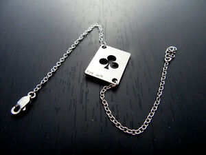 Playing cards club symbol bracelet Lucky charm casino gift for girls