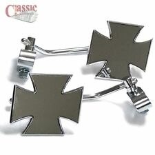 MALTESE CROSS HANDLE BAR END MIRROR'S FOR CUSTOM CHOPPER BOBBER CAFE RACE