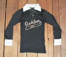 Vintage 1940s Ashton Jrs.Black Rayon Gab Soccer/Rugby Jersey Shirt Freds Cafe S