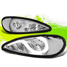 FOR 99-05 PONTIAC GRAND AM PAIR LED DRL HEADLIGHT CHROME/CLEAR 00 01 02 03 04