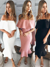 Summer Sexy Deep V-Neck Pink Flounce Off The Shoulder Joint Party Bodycon Dress