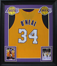 f0ec0c466 Lakers Shaquille O Neal Authentic Signed   Framed Yellow Jersey Signed on  ...