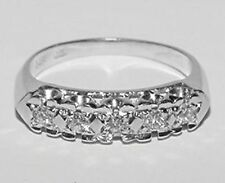 Lovely Signed JB 14K White Gold 5 Diamond Ring Anniversary Band Size 7
