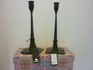 HOUSE DOCTOR PAIR BLACK IRON CANDLESTCK HOLDERS