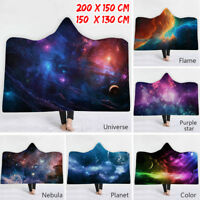 Hooded Blanket Universe Planet & Owl Double-layer Plush Thick Magic Hat