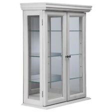 Wall Display Cabinet White Curio Hardwood Glass Doors Shelves Wall Mount New