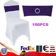 Spandex Stretch 100 Chair Cover Bow Band Wedding Party Slider Sash+Buckle Purple