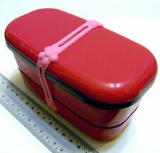 i263 PINK Microwave Japan 15x7.5x7.5cm Lunch Bento Box Two Tiers + BELT