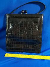 Mid Century Modern Black Alligator Handbag Purse Red Interior VTG Ball Latch