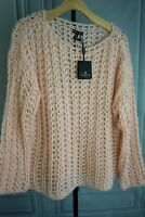 New Massimo Dutti TEXTURED OPEN Cable Knit Loose fit Sweater Pink Sz S
