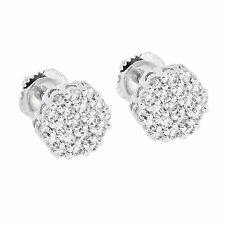 Mens Womens Cluster Set Earrings Round Cut Simulated Diamonds Screw On