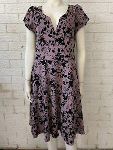 City Chic Mauve Black Appliqué Dress Size XS
