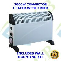 2kw Portable Electric 2000w Thermostat Convector Heater Timer Wall Mounted