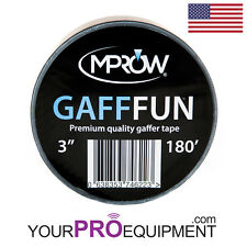 "MPROW Gafffun Gaffers Tape 3"" 180' Black Matte (No residue) Gaff 60 BEST QUALITY"