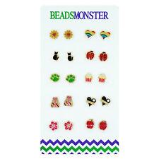 Color Enamel Golden Magnetic Clip on Studs Earrings Gift for Girls Kids Womens
