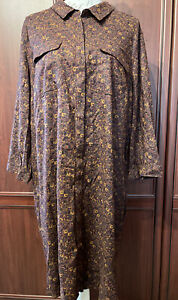 NEXT NWT UK 24 EUR 52 shirt dress Burgundy /Brown Mix RRP £28
