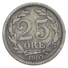 SILVER Roughly the Size of a Dime 1907 Sweden 25 Ore World Silver Coin *619