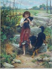 BORDER COLLIE BLACK and TAN WORKING SHEEPDOG ANTIQUE DOG ART PRINT Victorian