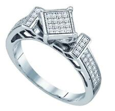 Micro Pave Diamond Ring Sterling Silver .20CT Size 7