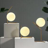 Modern Minimal White Glass Globe Ball LED Brass Table Desk Lights Beside Lamps