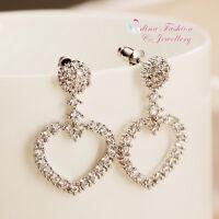18K White Gold Plated Simulated Full Diamond Sparkling Heart Stud Earrings