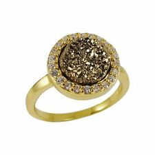 Gold Plated Sterling Silver Champagne Druzy Quartz White CZ 8mm Ring (6)