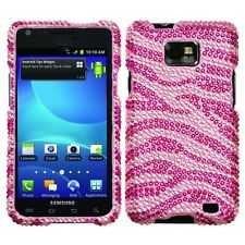 Pink Zebra Crystal Diamond BLING Case Phone Cover for AT&T Samsung Galaxy S II 2
