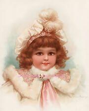 Lovely Frances Brundage Girl Pink Coat Fabric Block 5x7