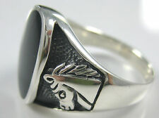 100% Real 925 Sterling Silver Oval Black Onyx Horses on side Men's Gent Guy Ring