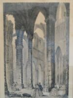 "ANTIQUE MARY ELLSWORTH ETCHING REPRODUCTION ""ABBEY CHURCH"""