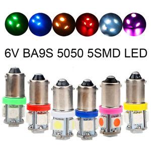 100Pcs 6V 6.3V T4W H6W T11 BA9S 5SMD 5050 LED Pinball LED Side Wedge Light Bulb