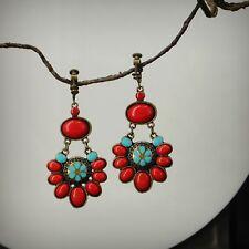 Boucles d'Oreilles Clips ON Pendante Chandelier Bleu Rouge Ethnic Fleur Retro E1