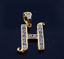 22k Jewelry Solid Gold Letter Shape Pendent H letter with Stone ph5