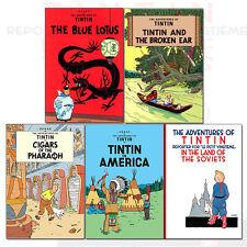 Adventures of Tintin Collection 5 Books Series 1 Set (The Blue Lotus,Broken Ear)