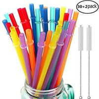 32 Pcs Long Reusable Drinking Straws Plastic Assorted Colors Yeti Tumbler Jar