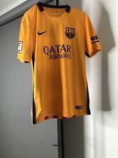 Nike 2015 FC Barcelona QATAR AIRWAYS Men's Yellow Away Soccer Jersey Size Medium
