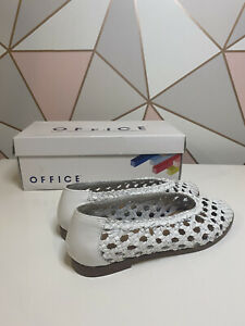 Office Fast Track Woven Ballerina White Leather Flats Pumps Shoes Size 5