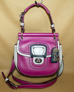 COACH POPPY Mini Wiillis Color Block Hobo Crossbody Bag 21741 Berry Slate Lthr