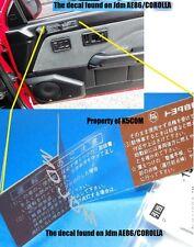 1x TOYOTA JPN'S STARTING MANUAL DOOR DECAL SR5 CRESSIDA AE86 CAMRY STARLET FJ
