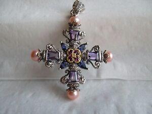 barbara bixby 18k sterling silver amethyst cross multi gemstone pendant enhancer
