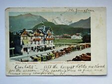 INTERLAKEN Hotel Jura Hauptbahnhof Dampfschiffstation Svizzera old postcard AK