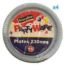 60x Plastic Round Dinner Plates 230mm Disposable Plates Baby Boy Party Blue Bulk